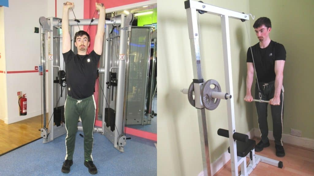 A man demonstrating the differences between pushdowns and overhead extensions