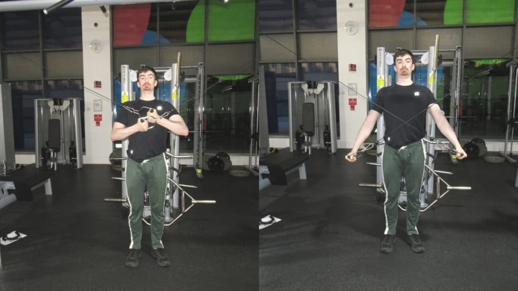 A man doing a reverse grip cable crossover tricep extension