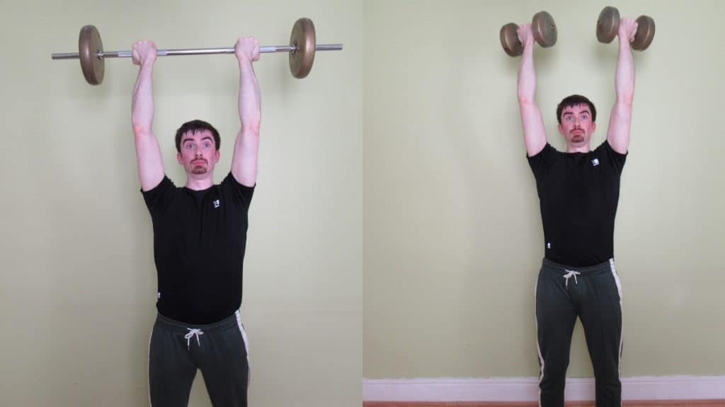 A man doing reverse grip overhead triceps extensions