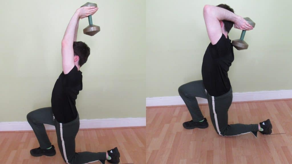 A man performing a reverse lunge with an overhead tricep extension