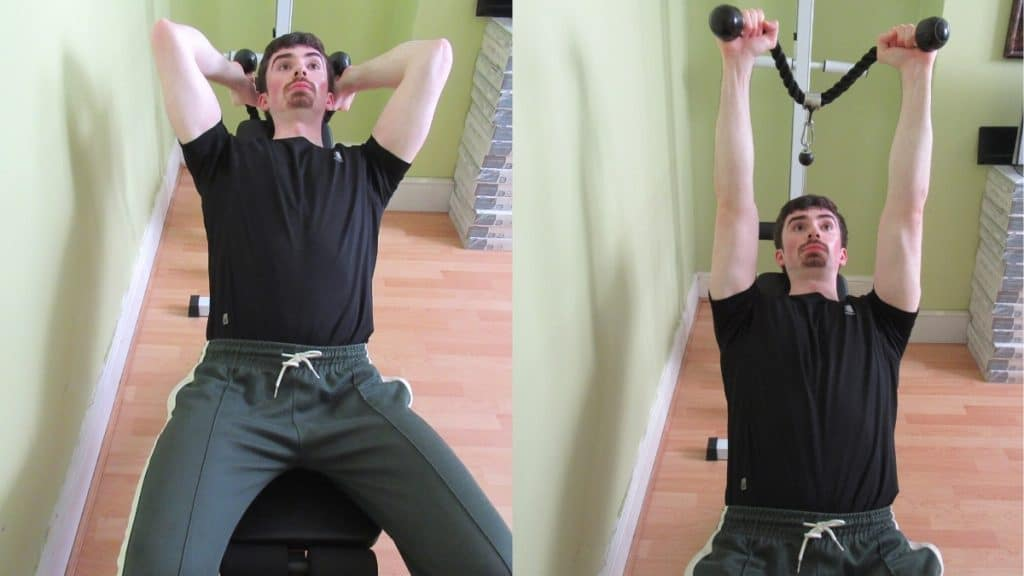 A man performing a rope incline cable triceps extension