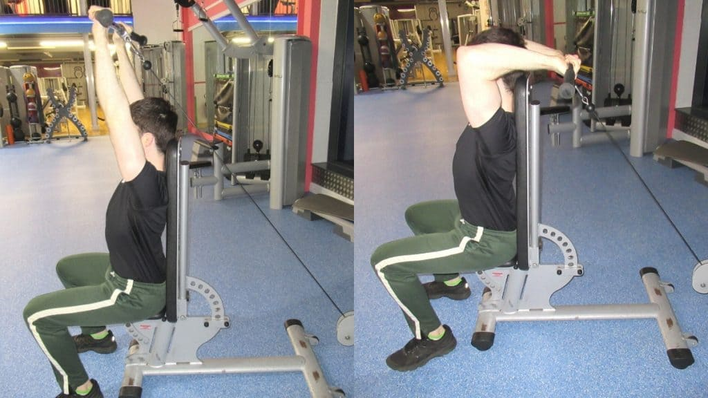 A man doing a seated cable tricep extension