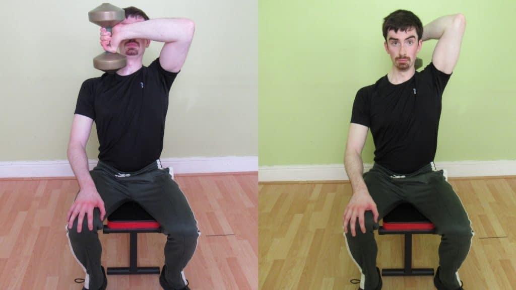 A man performing seated front to back tricep extensions