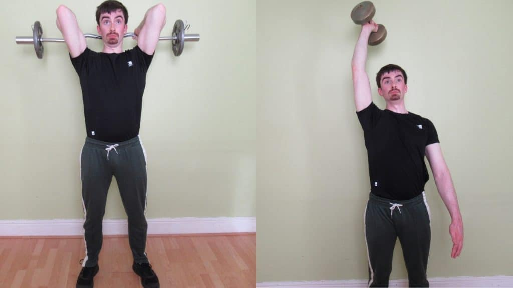 A man demonstrating some other exercises that you can do in addition to the seated one arm extension