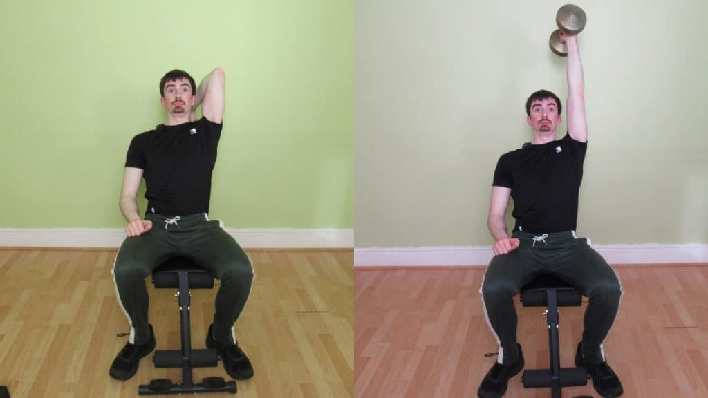A man performing a seated one arm overhead dumbbell extension for his triceps
