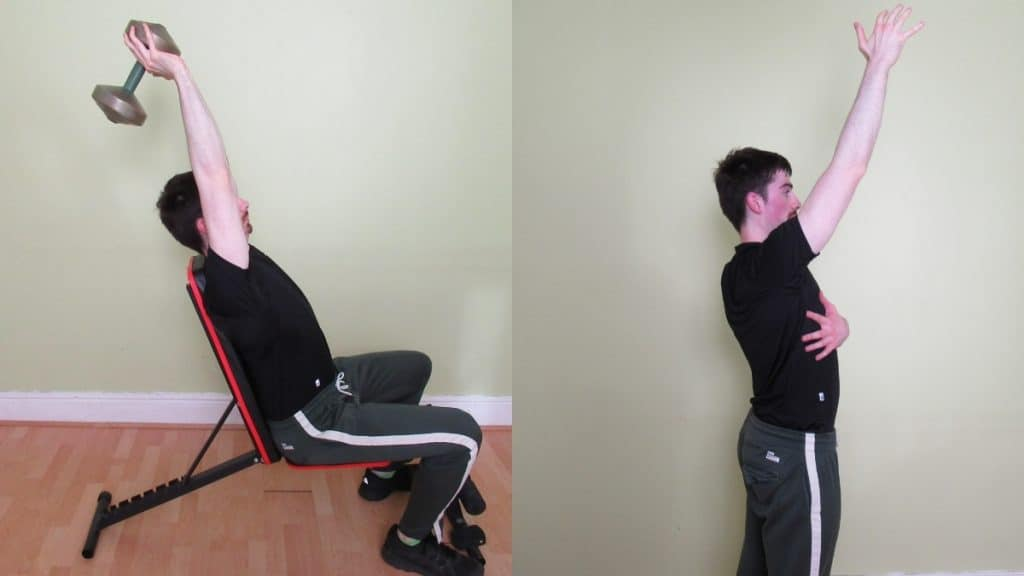 A man doing a seated overhead extension for his triceps