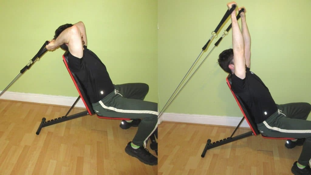 A man doing a seated resistance band tricep extension