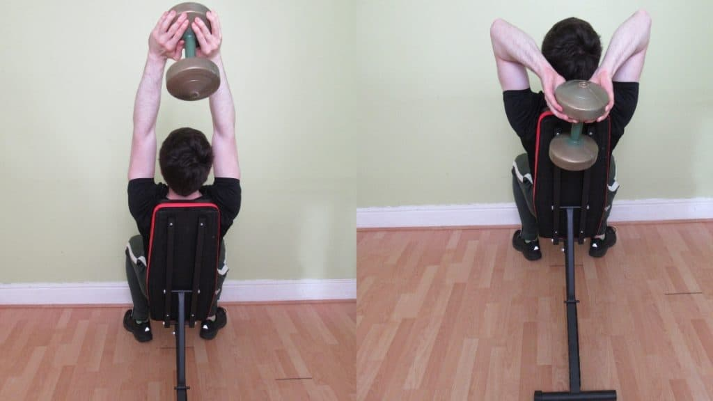 A man doing a seated tricep press with a dumbbell