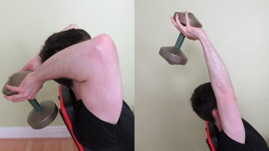 A man performing a seated triceps press