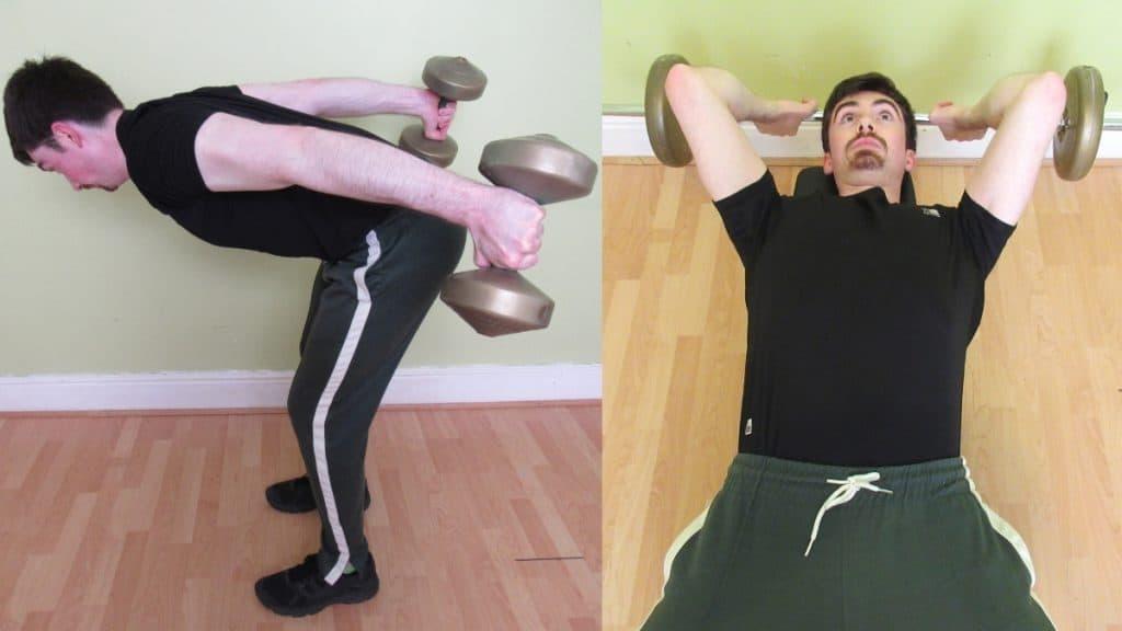 A man doing a side-by-side skull crushers vs kickbacks comparison
