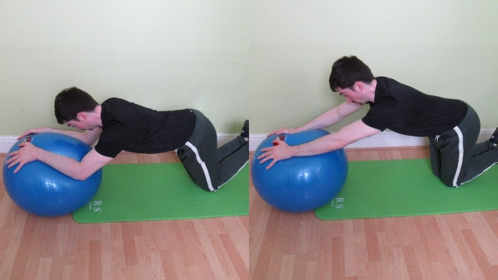 A man performing a stability ball kneeling bodyweight tricep extension