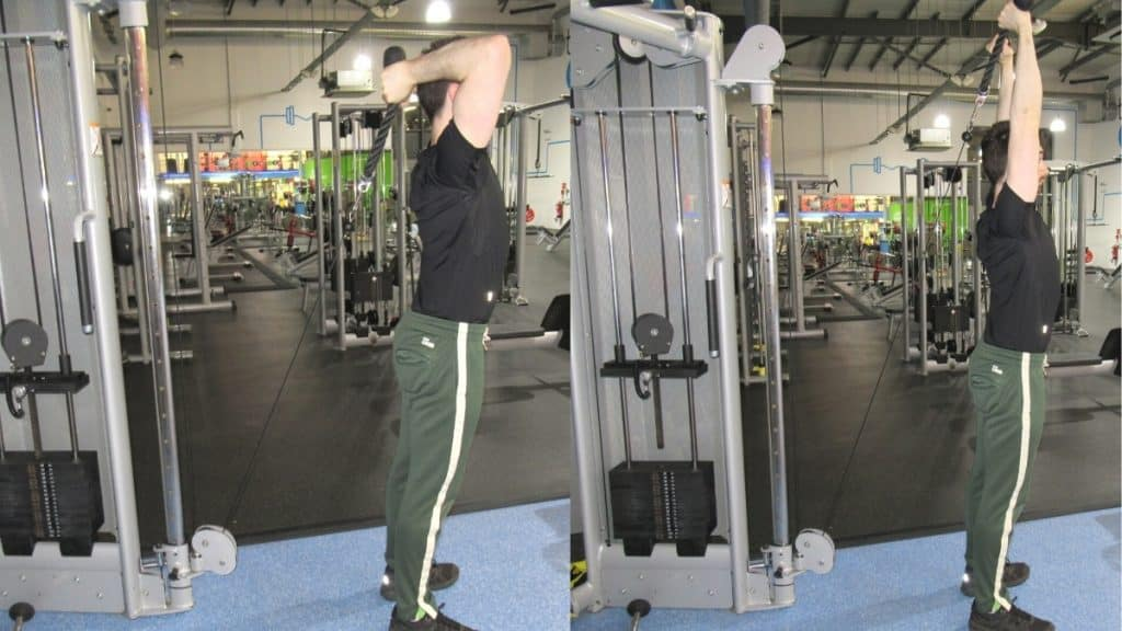 A man doing a standing overhead cable rope tricep extension
