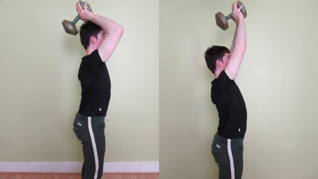 A man making a common standing tricep extension mistake: allowing too much forward elbow movement