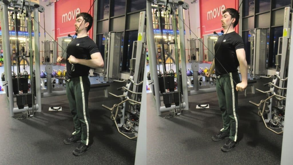 A man doing a tricep cable crossover extension