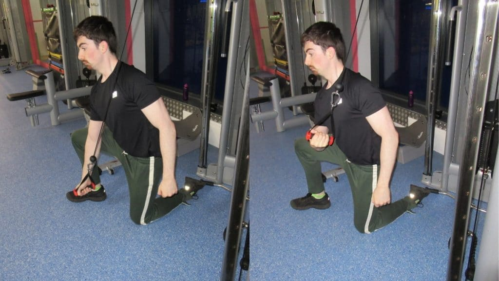 A man doing a tricep concentration extension