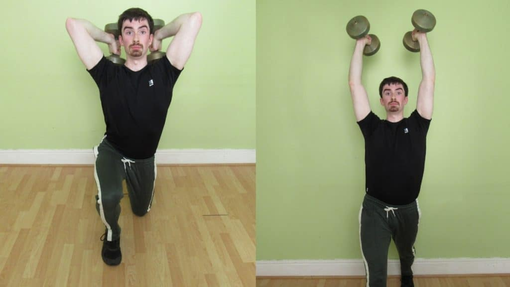 A man performing a tricep extension lunge with dumbbells