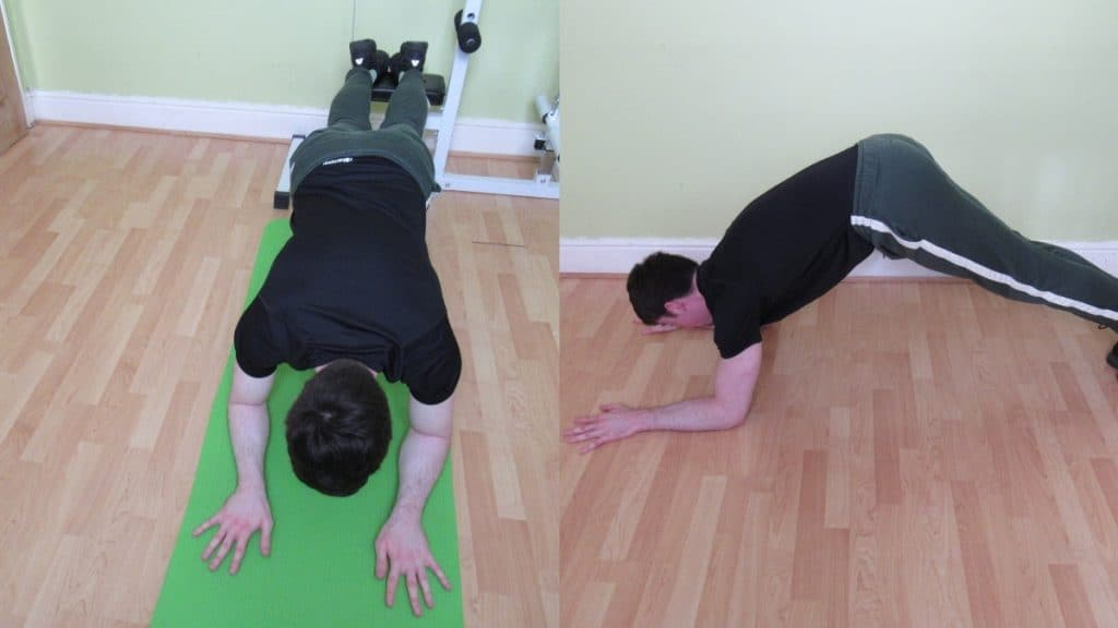 A man doing a tricep extension plank