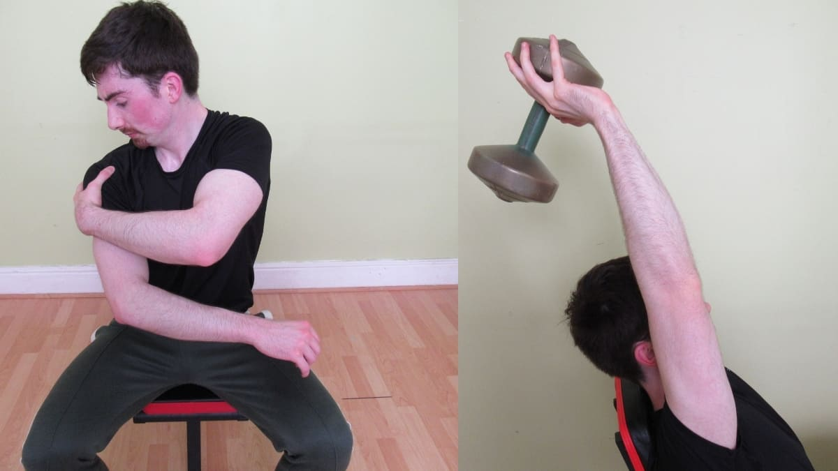 A man with a painful shoulder due to overhead tricep extensions