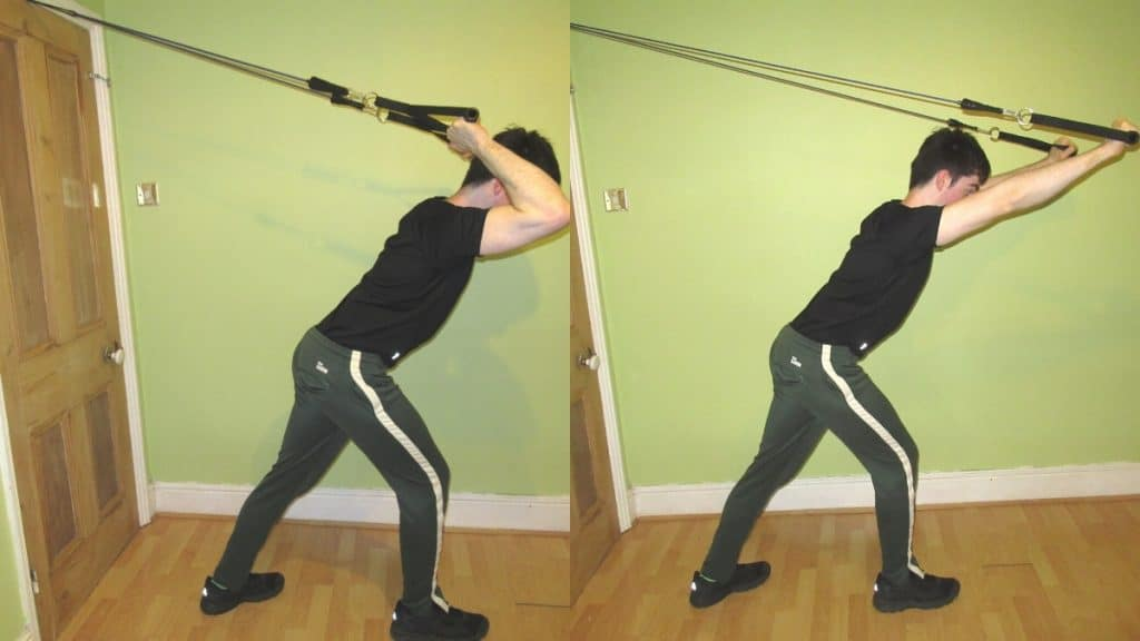 A man doing tricep extensions with resistance bands