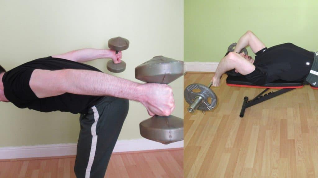 A man performing a tricep kickbacks vs skull crushers comparison