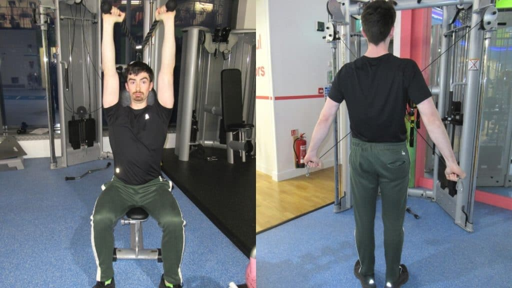 A man performing a tricep pushdown vs tricep extension comparison to show the differences