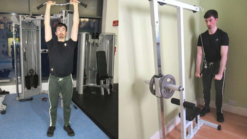 A man doing a tricep pushdowns vs overhead extensions comparison to show the differences