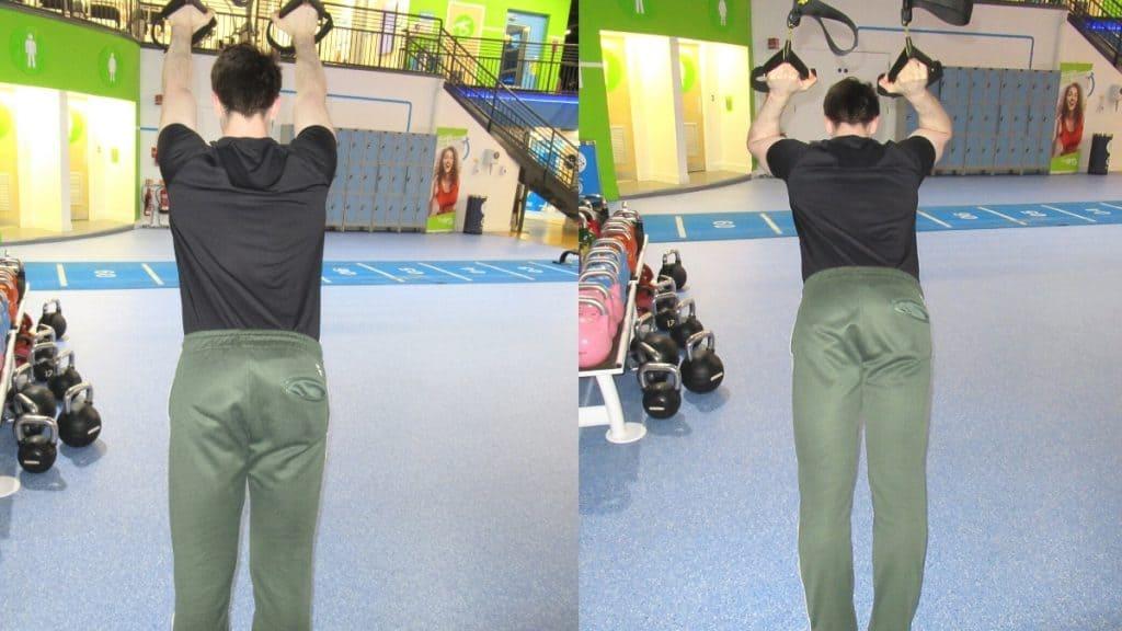 A man doing a TRX triceps press
