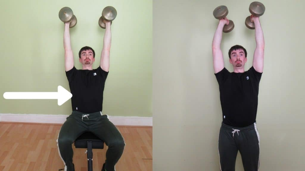 A man doing a two arm seated dumbbell extension