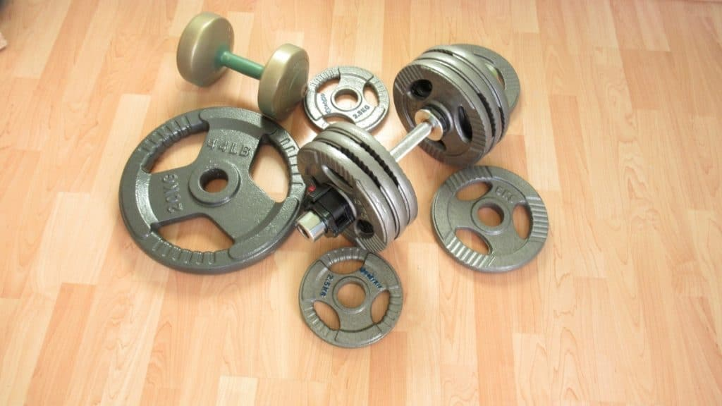 A collection of weights on the floor